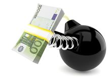 Bomb with euro currency. On white background Stock Photography