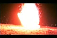 Bomb exploding in the middle of the night stock video