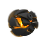 Bomb Explosion. Explosion of the bomb with fragments flying apart from fireball inside Royalty Free Stock Image