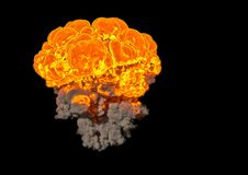 Bomb Explosion - 3D rendering. Bomb Explosion on black background - 3D rendering Royalty Free Stock Image
