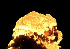 Bomb Explosion - 3D rendering. Bomb Explosion on black background - 3D rendering Stock Photos