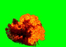 Bomb Explosion - 3D rendering. Bomb Explosion on green background - 3D rendering Stock Photo