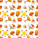 Bomb explosion effect seamless pattern. Explosion effect seamless pattern vector. Boom fire and strong fire smoke cloud splash elements. Expression testing Royalty Free Stock Images