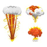 Bomb explosion effect vector. Boom fire and strong explosion boom. Fire smoke cloud splash elements. Boom effect illustration Stock Photography