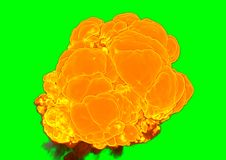 Bomb Explosion - 3D rendering. Bomb Explosion on green background - 3D rendering Stock Images