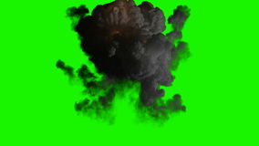 Bomb explosion on green chromakey