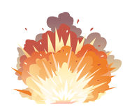 Bomb Explosion on Ground. Big cartoon bomb explosion with shrapnel and fireball in warm colors, isolated Royalty Free Stock Photography