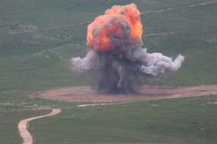 Bomb Explosion-Mushroms and fire royalty free stock photo