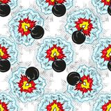 Bomb explosion pop art comic seamless pattern Stock Photography