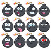 Bomb Face Cartoon Mascot Character With Emoji Expressions. Illustration Isolated On White Background Stock Image