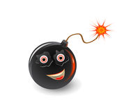 Bomb face icon with burning fuse Royalty Free Stock Photo