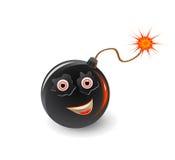 Bomb face icon with burning fuse. Isolated on white background Royalty Free Stock Photo