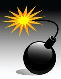 Bomb with fire. Illustration on black Royalty Free Stock Photo