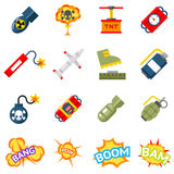 Bomb flat icons. Bombs and explosives pictograms Stock Image