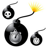Bomb with fuse. Cartoon like black bomb with lit fuse. Timer and skull on bomb Stock Images
