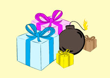 Bomb in gifts Royalty Free Stock Images