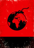 Bomb and the globe. Red and black poster with bomb and the globe Stock Photos