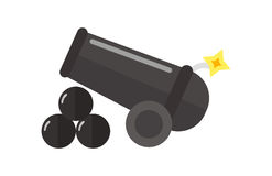 Bomb gun with burning wick vector illustration. Royalty Free Stock Photography
