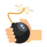 Bomb in hand. Hand holds Black bomb with lit wick. Flat cartoon bomb illustration. Objects  on a white background Stock Images