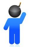 Bomb head illustration icon. Over white background Royalty Free Stock Photo