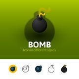 Bomb icon in different style. Bomb color icon, vector symbol in flat, outline and isometric style  on blur background Stock Photography