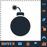 Bomb icon flat stock illustration