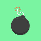 Bomb icon. On green background. flat design modern vector illustration Stock Photography