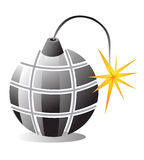 Bomb icon. An illustration of a bomb with fire thread Stock Image