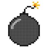 Bomb icon. Bomb pixel art; Danger concept Stock Image