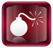 Bomb icon red Stock Photography