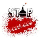Bomb Icon. Stop Terrorism Banner. Bomb Icon on Red Grunge Background. Stop Terrorism Banner Stock Image