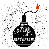 Bomb Icon. Stop Terrorism Banner. Royalty Free Stock Photo