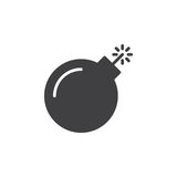 Bomb icon vector, filled flat sign, solid pictogram isolated on white Stock Images