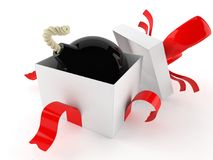 Bomb inside gift. On white background Stock Photography