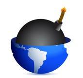 Bomb inside a globe illustration Royalty Free Stock Photography