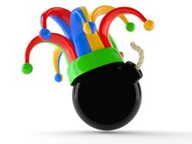 Bomb with jester hat. Isolated on white background Stock Images