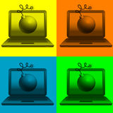 Bomb on laptop monitor Stock Images