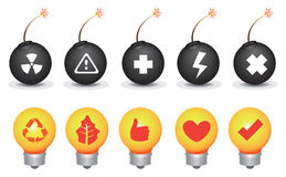 Bomb and Light Bulb Symbols Vector Icon Set Royalty Free Stock Photo