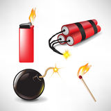 Bomb, lighter, match with dynamite Stock Photos