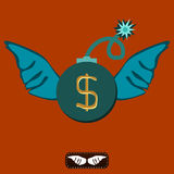 A bomb with a lit fuse and wings. The dollar symbol. Stock Image