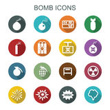 Bomb long shadow icons Royalty Free Stock Image