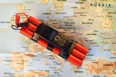Bomb on the map Royalty Free Stock Images