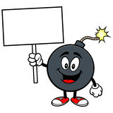 Bomb Mascot with Sign Stock Photos