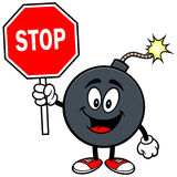Bomb Mascot with Stop Sign Royalty Free Stock Photos