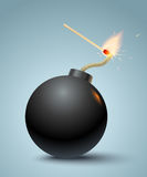 Bomb and match. Vector illustration of a bomb and match in fire and sparks Stock Photo