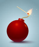 Bomb and match. Vector illustration of a bomb and match in fire and sparks Royalty Free Stock Photos