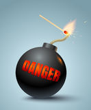 Bomb and match. Vector illustration of a bomb and match in fire and sparks. Danger Stock Images