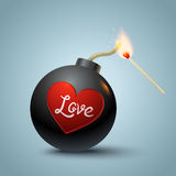 Bomb and match. Vector illustration of a bomb with heart and match in fire Stock Photography