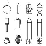 Bomb and missile icons outline stroke set Stock Image