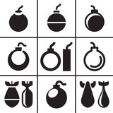 Bomb and missile icons set Stock Photo